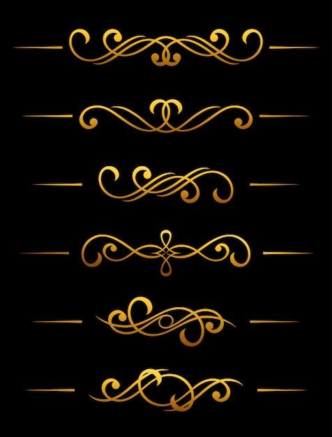 Divisor de oro vintage y elementos de frontera establecidos para adornado Vector Premium