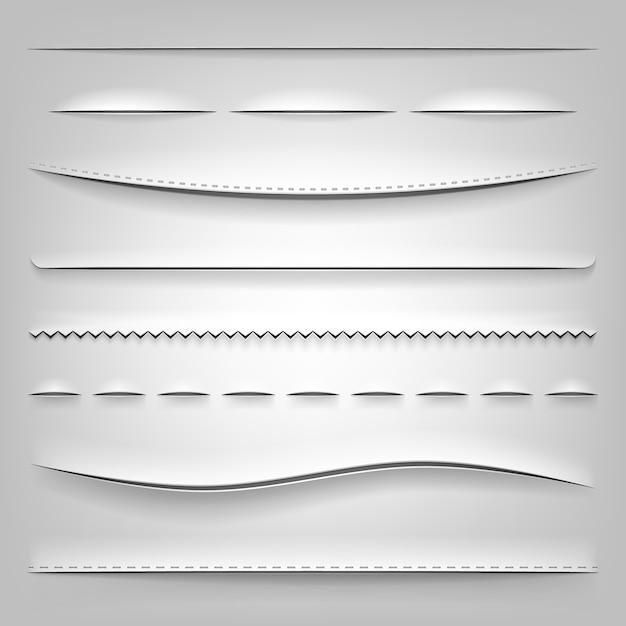 Divisores realistas de papel cortado vector gratuito