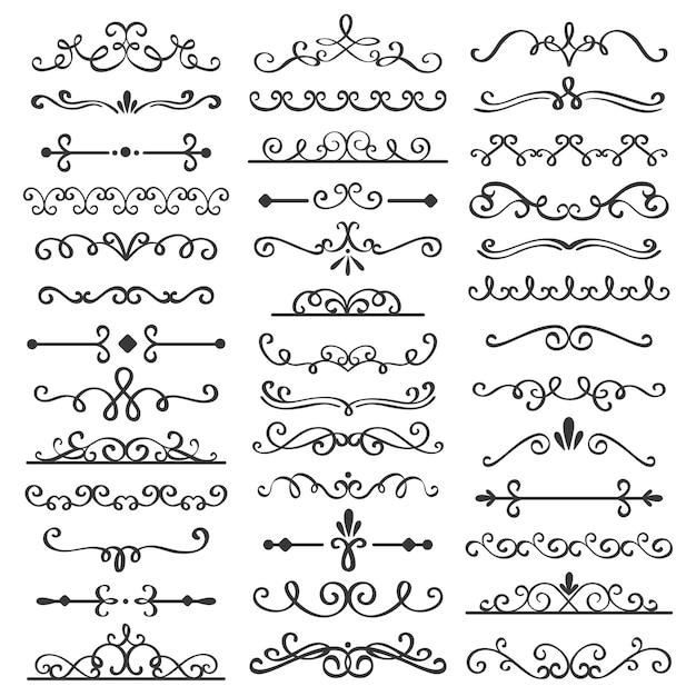 Divisores de remolinos decorativos. delimitador de texto antiguo, adornos de borde remolino caligráfico y conjunto de vectores divisor vintage Vector Premium