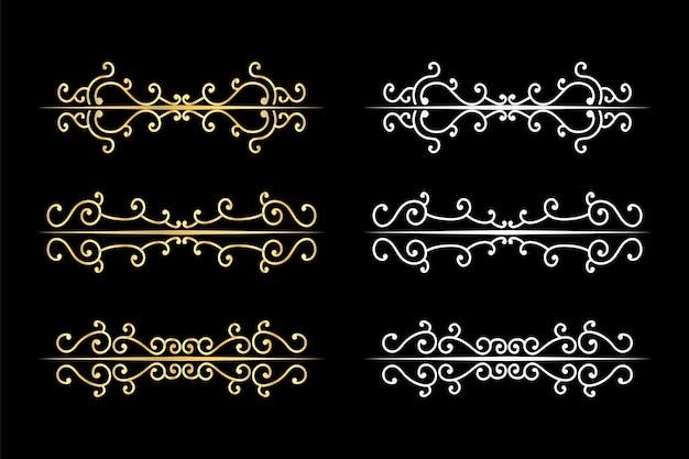 Divisores de remolinos decorativos delimitador de texto antiguo, adornos de remolinos caligráficos y divisor vintage, bordes retro. Vector Premium