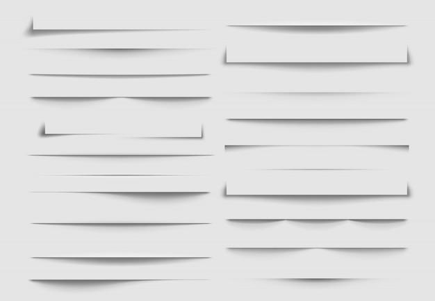 Divisores de sombra aislados. sombras descartadas por la hoja de papel. ilustración Vector Premium