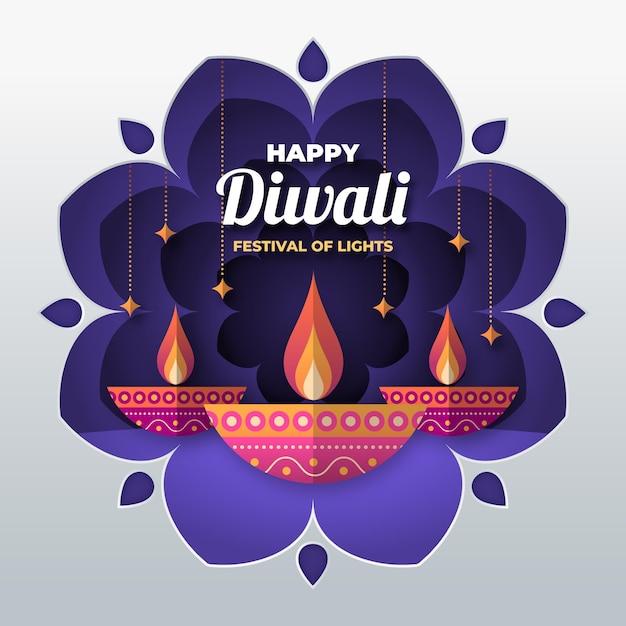 Diwali en concepto de estilo de papel Vector Premium