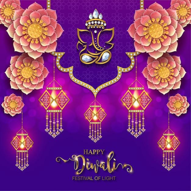 Diwali, deepavali o dipavali, el festival de las luces de la india con diya de oro estampada y cristales sobre papel. Vector Premium