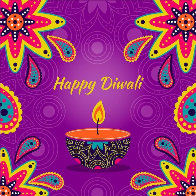 Diwali de diseño dibujado a mano con vela vector gratuito