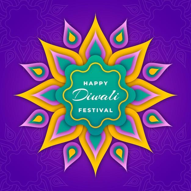Diwali en estilo papel vector gratuito