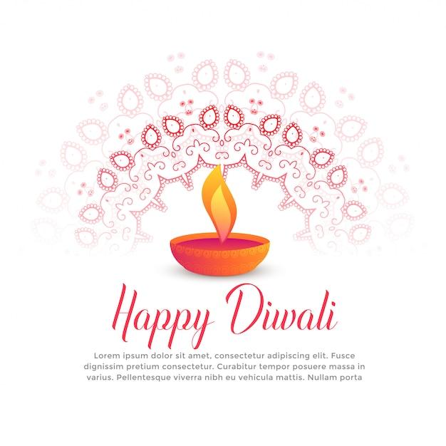 Diwali festival quema diya y mandala arte vector gratuito