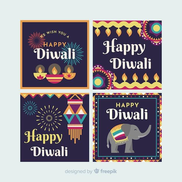 Diwali instagram post collection vector gratuito