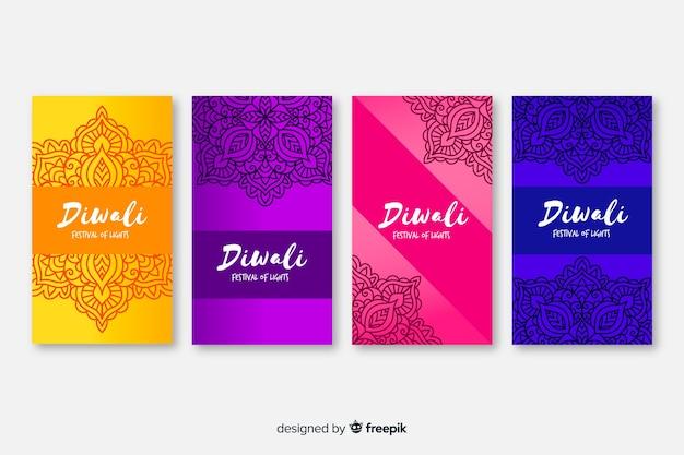 Diwali redes sociales historias diwali instagram historias vector gratuito