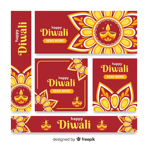 Diwali web banners estilo de diseño plano vector gratuito