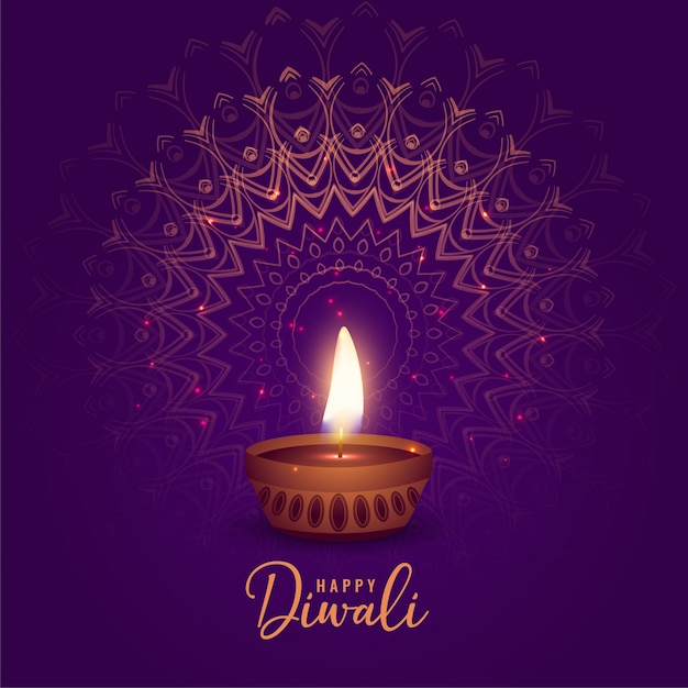 Diya hermoso festival diwali en el fondo del mandala vector gratuito