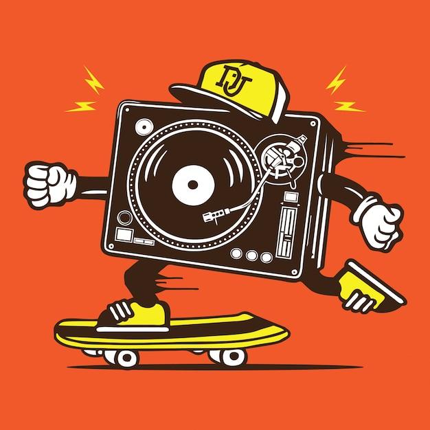 Dj disc jockey skater skateboard personaje Vector Premium