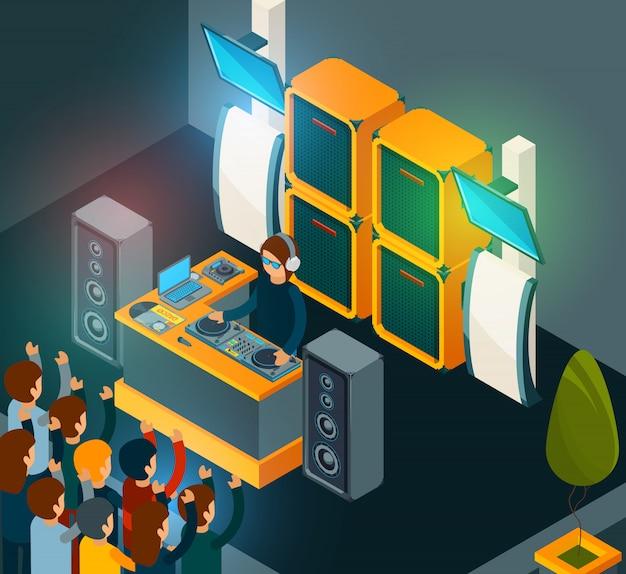 Dj en escena. entretenimiento fiesta música feliz multitud cantando bailando electro música de altavoces Vector Premium