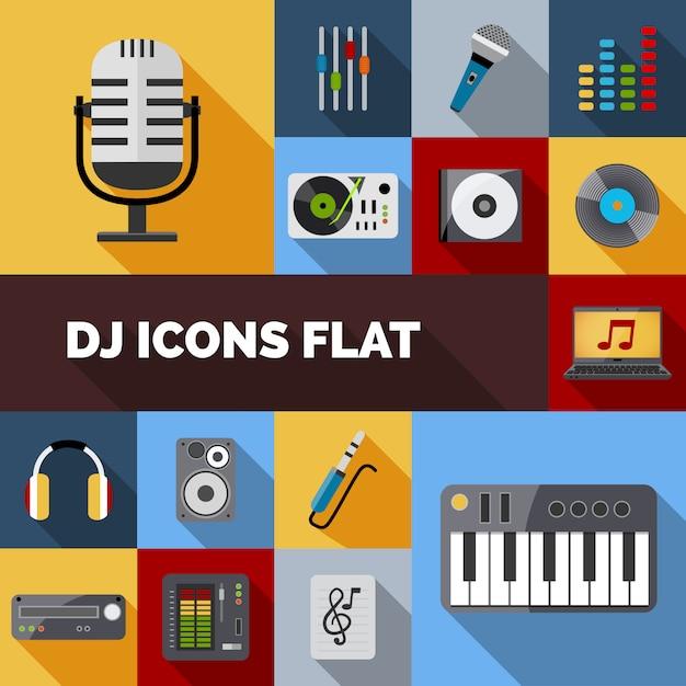Dj icons flat set vector gratuito