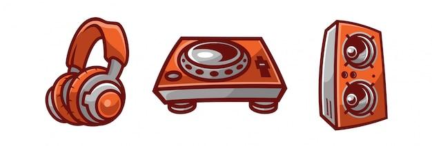 Dj de música giratoria Vector Premium