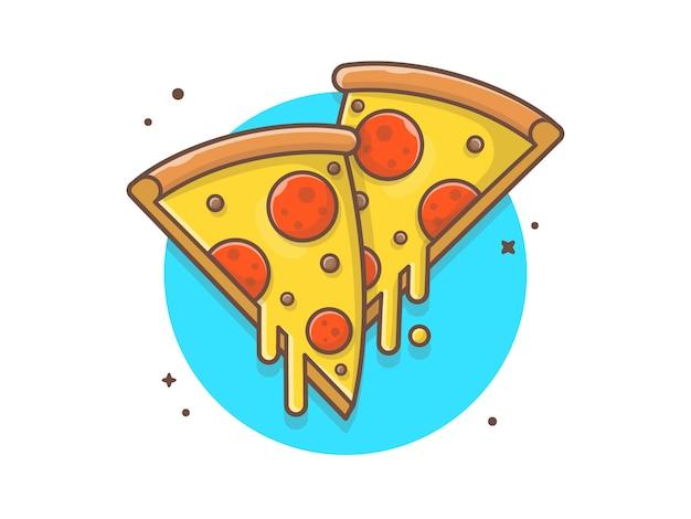 Doble rebanada de pizza con queso derretido Vector Premium
