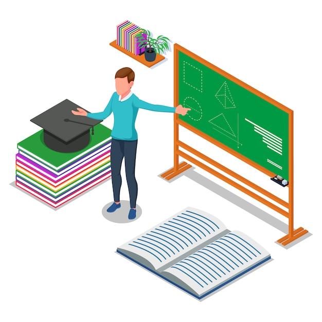 Docente enseñando en el tablero. ilustración isométrica de regreso a la escuela. vector Vector Premium