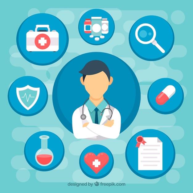 Doctor con diseño plano e iconos médicos Vector Gratis