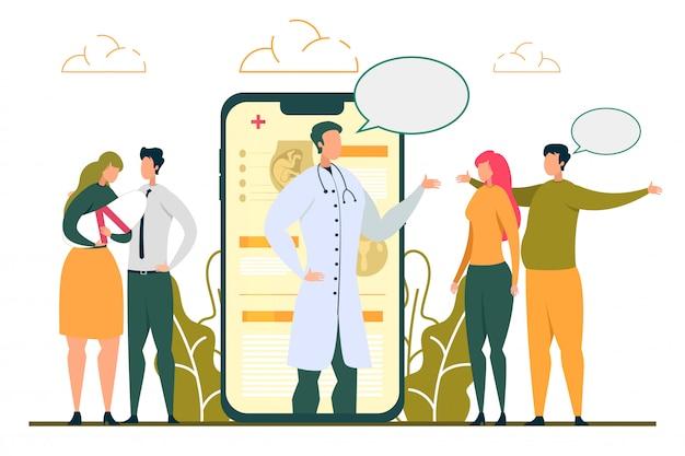 Doctor consulting fertility problem woman en línea Vector Premium