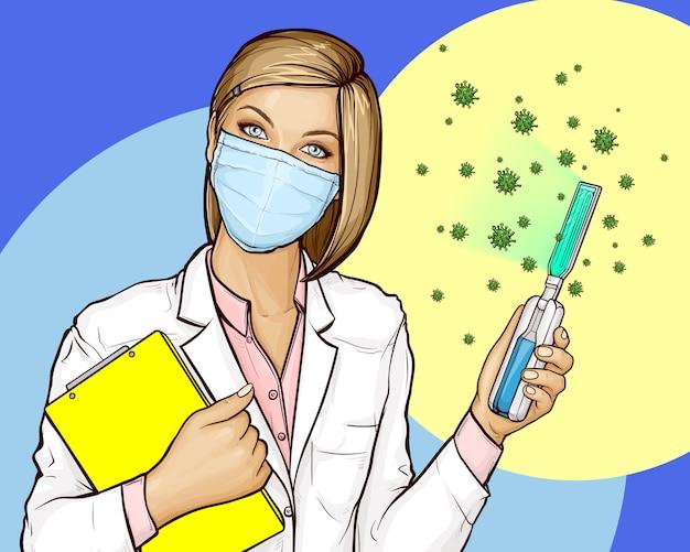 Doctor con desinfectante ultravioleta portátil vector gratuito