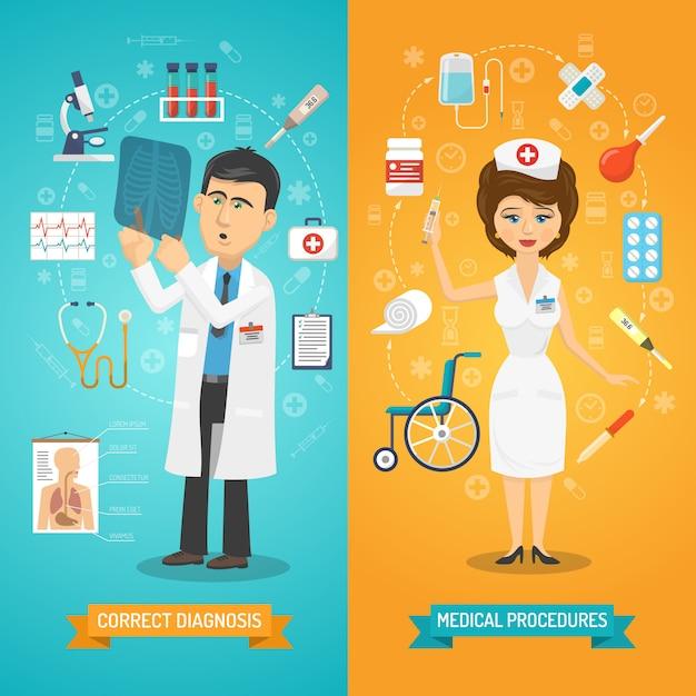 Doctor y enfermera banner vector gratuito