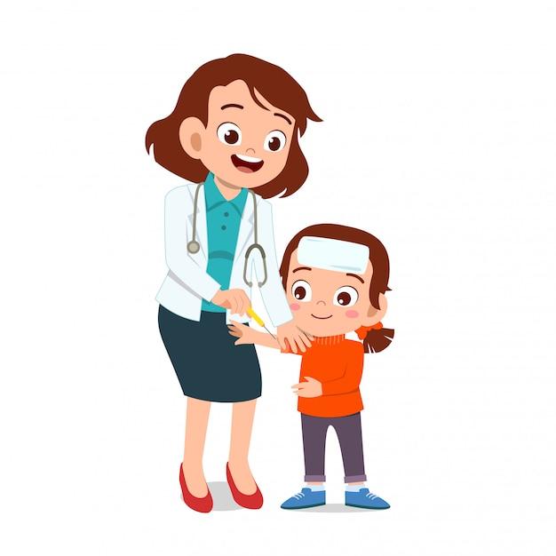 Doctor feliz tratamiento enfermedad del niño Vector Premium