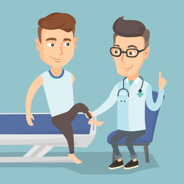 Doctor De Gimnasio Comprobando El Tobillo Un Paciente