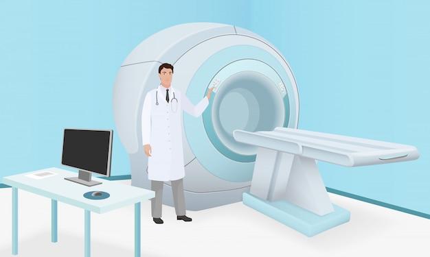 El doctor invita a la máquina escáner de resonancia magnética Vector Premium