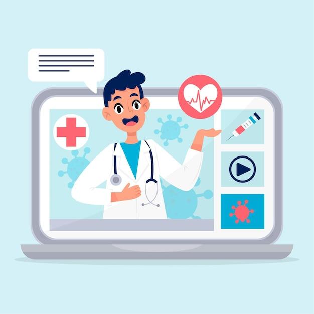 Doctor en línea en bata médica hablando Vector Premium