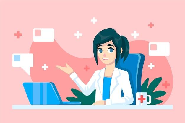 Doctor en línea dando consejos y ayuda vector gratuito