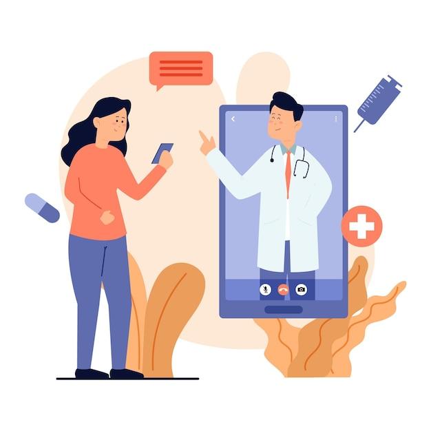 Doctor en línea hablando con su paciente Vector Premium