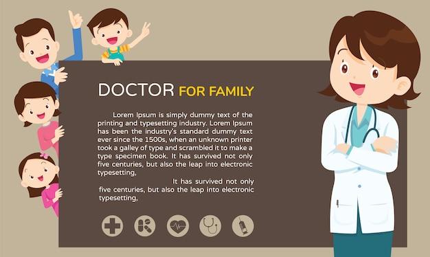 Doctor mujer y lindo fondo familiar Vector Premium