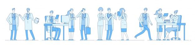 Doctor personajes. doctores hablando reunión trabajando en ordenador portátil. hospital de personas médicas. línea de educación médica Vector Premium