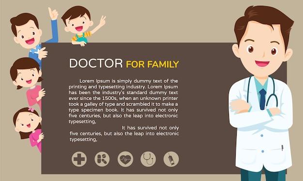 Doctor y plantilla de fondo familiar lindo Vector Premium