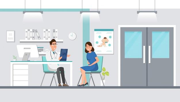 Doctor que muestra la hoja del ultrasonido a la mujer embarazada en el hospital. Vector Premium