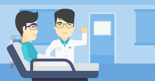 Doctor que visita el ejemplo paciente del vector Vector Premium