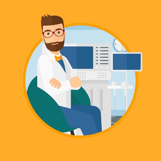 Doctor en ultrasonido masculino. Vector Premium