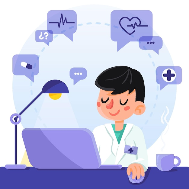 Doctor usando tecnología en línea para ayudar a los pacientes vector gratuito