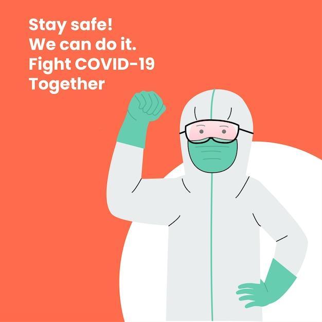 Doctor vistiendo traje de materiales peligrosos póster en línea Vector Premium