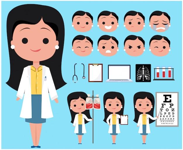 Doctora avatar de personaje Vector Premium
