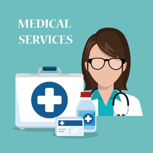 Doctora con iconos de servicios médicos vector gratuito