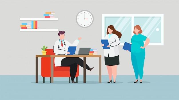 Doctores discutiendo en la habitación del hospital, vector ilustración plana Vector Premium