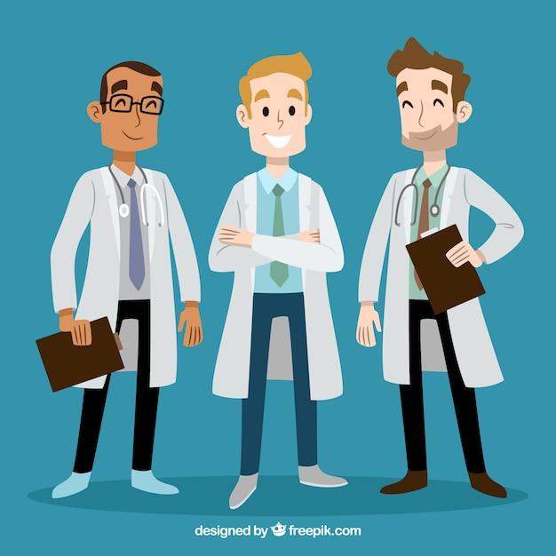 Doctores sonriente dibujados a mano vector gratuito