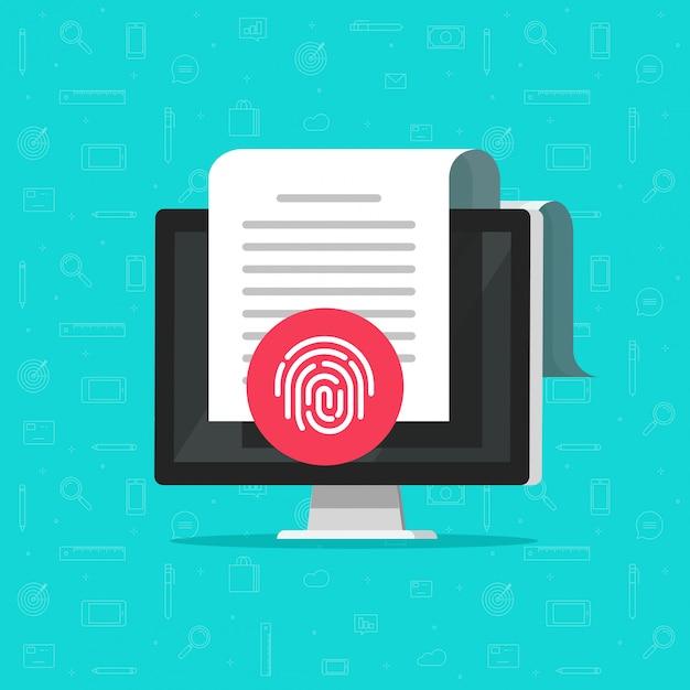 Documento de computadora protegido por huella digital Vector Premium