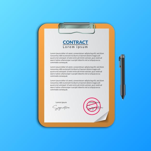 Documento del documento del contrato con firma y sello en el portapapeles para la aprobación de la documentación del acuerdo comercial Vector Premium