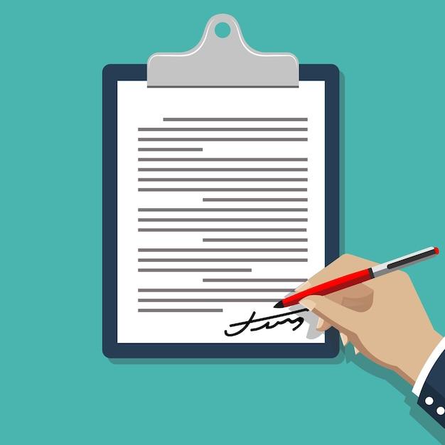 Documento de firma a mano. hombre escribiendo en la ilustración de documento de contrato de papel. vector gratuito