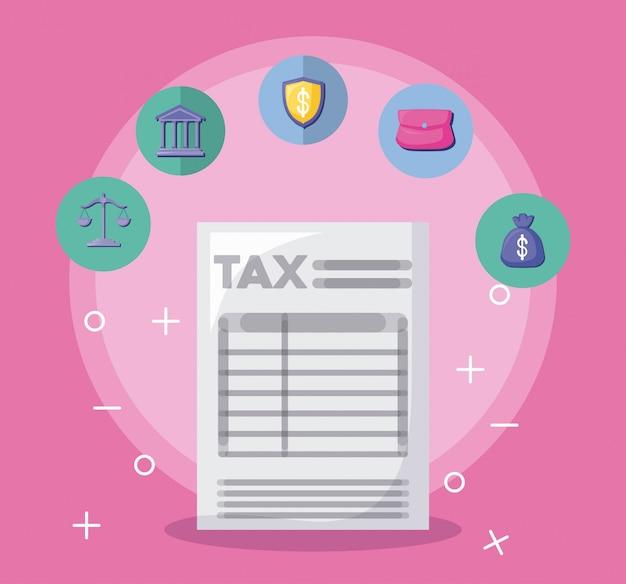 Documento de impuestos con economía y finanzas. Vector Premium
