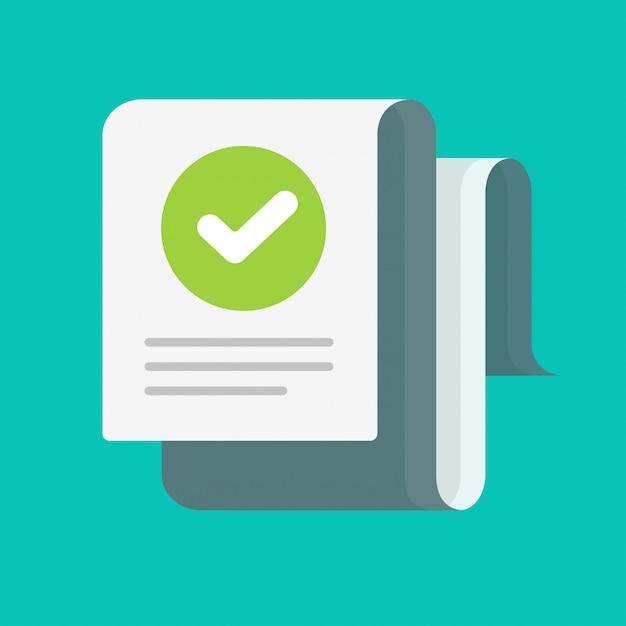 Documento largo con marca de verificación verificada o caricatura de marca de verificación aprobada, concepto de mensaje de confirmación de auditoría o nota de inspección, lista de verificación de éxito con imagen de marca de evaluación correcta Vector Premium