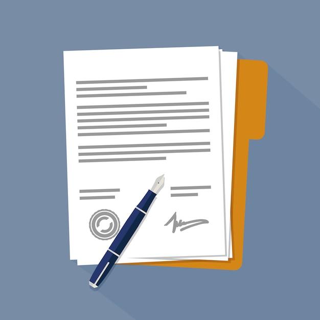 Documentos de contrato o documentos Vector Premium