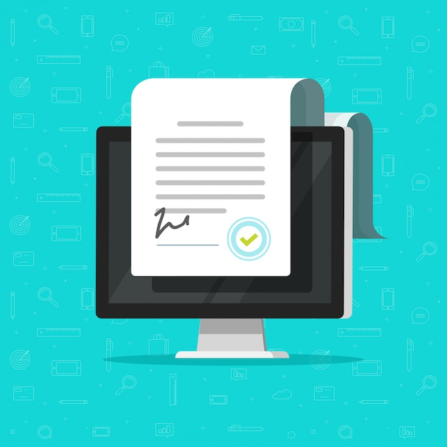 Documentos electrónicos en línea o contratos inteligentes. Vector Premium