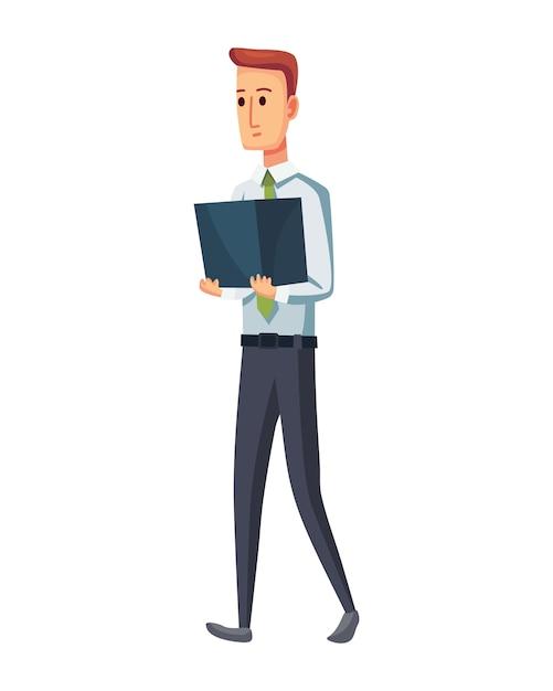 Documentos de oficina de fotocopiadora. trabajador de oficina con pila de documentos. hombre de concepto de trabajo de oficina. Vector Premium